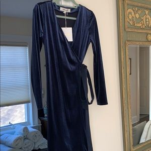 Stunning deep blue velvet DVF wrap dress